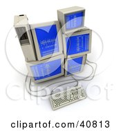 Clipart Illustration Of A Stack Of Old Computer Monitors With Blue Screens And Binary Code by Frank Boston