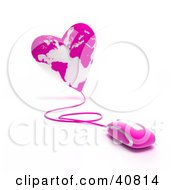 Clipart Illustration Of A 3d Computer Mouse Wired To A Pink Heart Globe