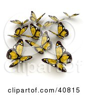 Clipart Illustration Of A Group Of Yellow Solar Panel Butterflies