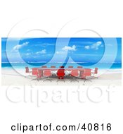 Clipart Illustration Of A Red 3d Conference Table And Chairs Set Up On A Beach With White Sands And Blue Waters