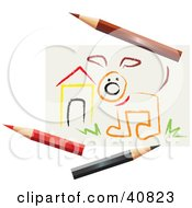 Clipart Illustration Of A Childrens Art Drawing Of A Dog By A House With Colored Pencils