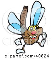 Clipart Illustration Of A Happy Brown Dragonfly With Blue Wings