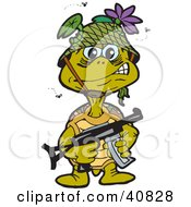 Clipart Illustration Of A Stinky Turtle Soldier Surrounded By Flies Carrying A Gun