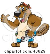 Clipart Illustration Of A Carpenter Beaver Character Holding A Sander And Giving The Thumbs Up by Dennis Holmes Designs