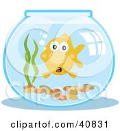 Clipart Illustration Of A Surprised Goldfish In A Fish Bowl