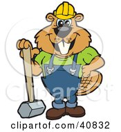 Clipart Illustration Of A Beaver Character Construction Worker Leaning On A Sledgehammer by Dennis Holmes Designs