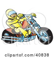 Biker Wearing A Helmet And Suit Riding An Orange Chopper