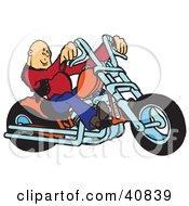 Cool Bald Biker Dude Riding His Orange Chopper