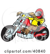 Clipart Illustration Of A Biker Dude In A Helmet Riding A Red Chopper by Snowy