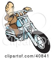 Clipart Illustration Of A Happy Biker Dude Dressed In Brown Riding On His Blue Chopper by Snowy