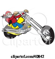 Clipart Illustration Of A Cool Motorcycle Dude With A Beard Riding His Yellow Chopper by Snowy