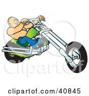 Shirtless Bald Biker Dude Riding His Green Chopper