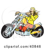 Clipart Illustration Of A Blond Biker Chick Riding Her Yellow Chopper by Snowy