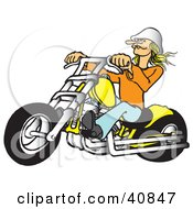 Blond Biker Chick Wearing A White Hat Riding Her Yellow Chopper