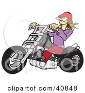 Clipart Illustration Of A Blond Biker Chick Wearing A Red Hat Riding Her Red Chopper by Snowy
