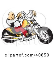 Clipart Illustration Of A Cool Bald Biker Dude Driving His Orange Chopper by Snowy