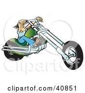 Clipart Illustration Of A Tough Biker Dude Resting His Arms On His Chopper Handles While Taking A Ride On His Green Motorcycle by Snowy