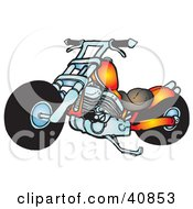 Clipart Illustration Of A Cool Orange Chopper Motorcycle by Snowy
