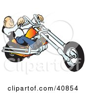 Clipart Illustration Of A Cool Balding Biker Man Riding His Orange Chopper by Snowy