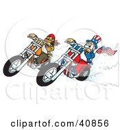 Clipart Illustration Of A Bearded Biker Dude Racing Choppers With Uncle Sam