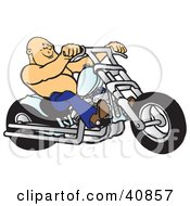 Bald And Shirtless Biker Dude Riding His Chrome Chopper