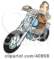 Clipart Illustration Of A Cool Biker Dude Dressed In Brown Riding On His Blue Chopper
