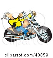 Clipart Illustration Of A Biker Dudes Head Falling Back While Riding A Powerful Orange Chopper