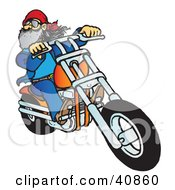 Clipart Illustration Of A Bearded Biker Dude Riding His Orange Chopper