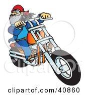 Clipart Illustration Of A Bearded Biker Dude Riding His Orange Chopper