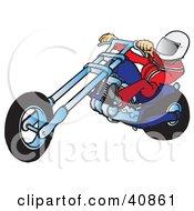 Clipart Illustration Of A Biker Dude In A Helmet Riding A Blue Chopper