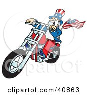Clipart Illustration Of A Carefree Uncle Sam Riding A Chopper