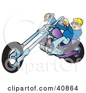 Clipart Illustration Of A Young Blond Biker Dude In Shades Riding His Purple Chopper