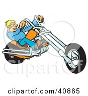 Young Blond Biker Dude In Shades Riding His Orange Chopper