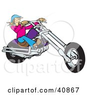Clipart Illustration Of A Blond Biker Chick In A Hat Riding A Purple Chopper