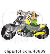 Clipart Illustration Of A Tough Biker Dude Resting His Arms On His Chopper Handles While Taking A Ride On His Yellow Motorcycle