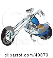 Clipart Illustration Of A Cool Blue Chopper Motorcycle