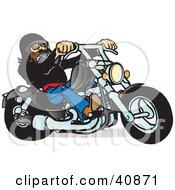 Clipart Illustration Of A Cool Motorcycle Dude With A Beard Riding His Black Chopper