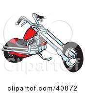 Clipart Illustration Of A Cool Red Chopper Motorcycle