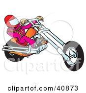 Clipart Illustration Of A Biker Dude In A Helmet Riding An Orange Chopper