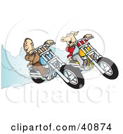 Clipart Illustration Of A Carefree Biker Dude And Hog Racing Their Choppers by Snowy
