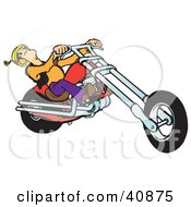 Clipart Illustration Of A Biker Dudes Head Falling Back While Riding A Powerful Red Chopper