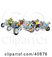 Clipart Illustration Of A Group Of Biker Chicks And Dudes Riding Their Colorful Choppers by Snowy