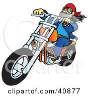 Clipart Illustration Of A Biker Dude With A Beard Riding His Orange Chopper by Snowy #COLLC40877-0092