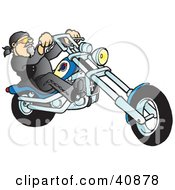 Clipart Illustration Of A Riding Biker Dude On His Blue Chopper
