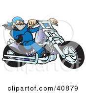 Clipart Illustration Of A Cool Motorcycle Dude With A Beard Riding His Blue Chopper
