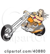 Clipart Illustration Of A Brunette Biker Chick Riding Her Orange Chopper