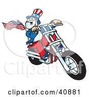 Uncle Sam Biker Dude Riding A Chopper by Snowy