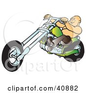 Clipart Illustration Of A Bald And Shirtless Biker Dude Riding His Green Chopper