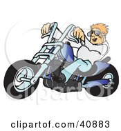 Clipart Illustration Of A Young Blond Biker Dude In Shades Riding His Blue Chopper