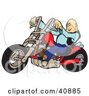 Clipart Illustration Of A Cool Bald Biker Dude Riding His Red Chopper